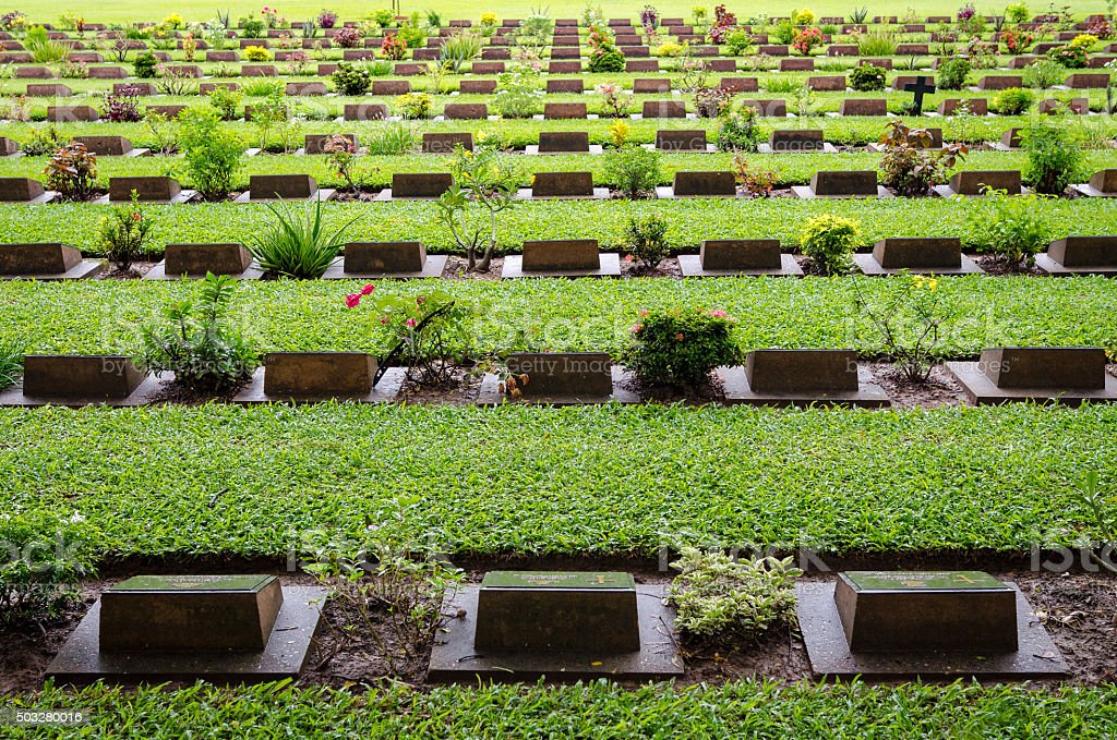 Kanchanaburi War Cemetery (Thailand) stock photo