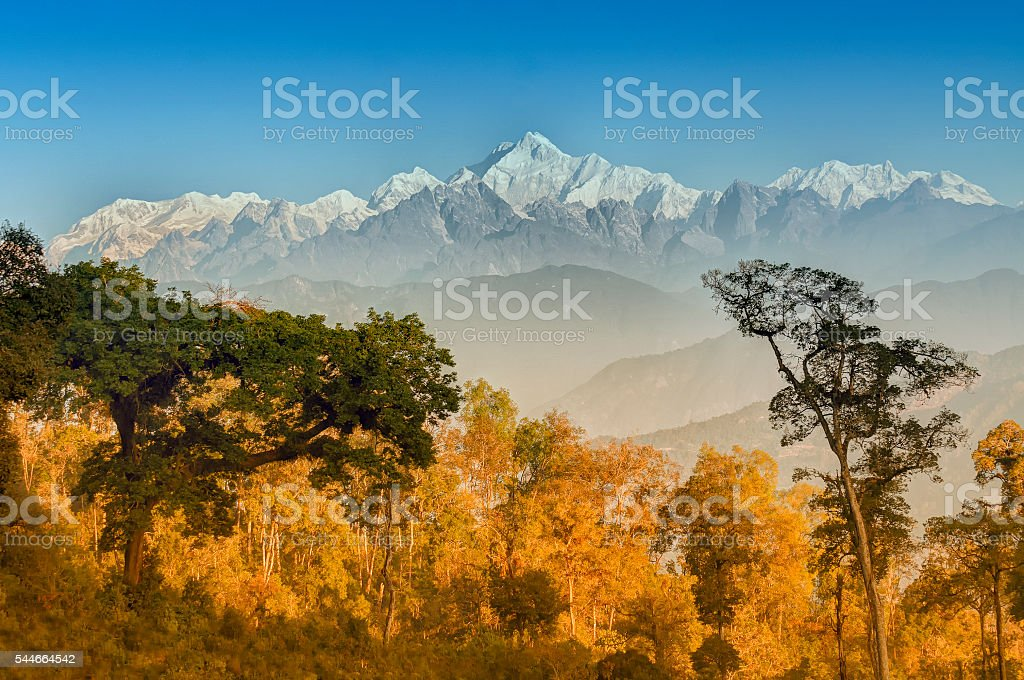 Kanchenjunga mountain range , Himalayan mountain in backdrop, Sikkim stock photo