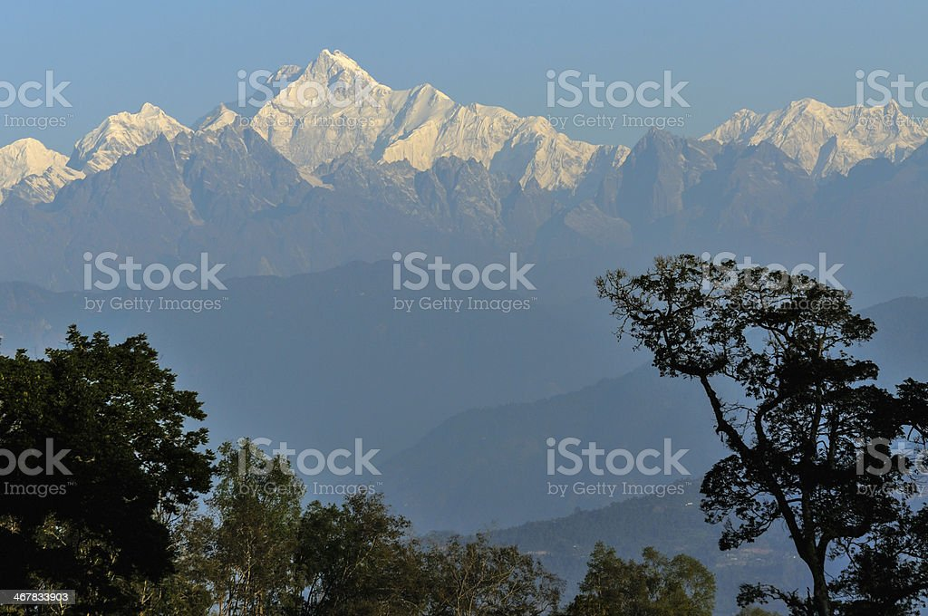 Kanchenjunga mountain range, Sikkim royalty-free stock photo