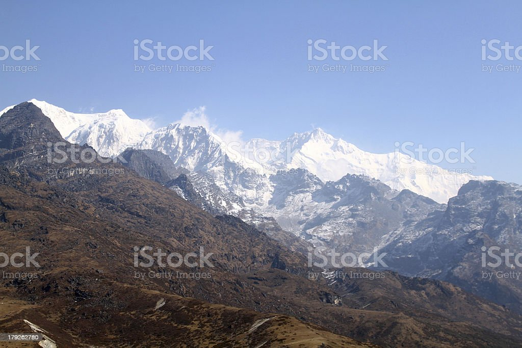 kanchenjunga summit from viewpoint royalty-free stock photo