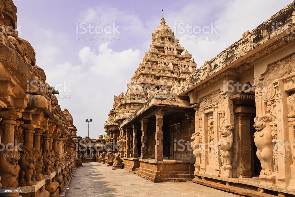 Kanchipuram, India - 1300 year old Kailasanathar Temple, circumambulatory passage stock photo