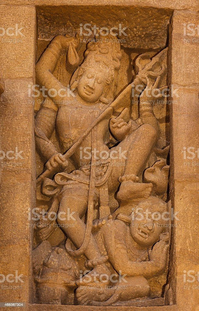Kanchipuram, India: 1300 year old Kailasanathar Temple, triumph over evil stock photo