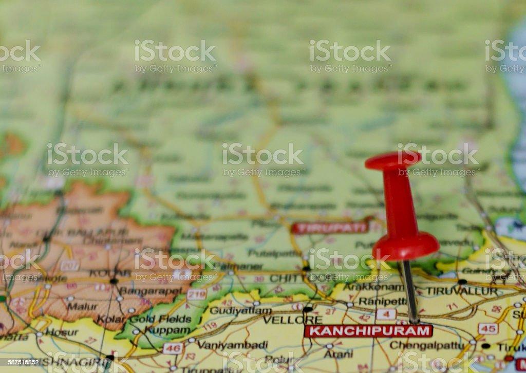 Kanchipuram map stock photo