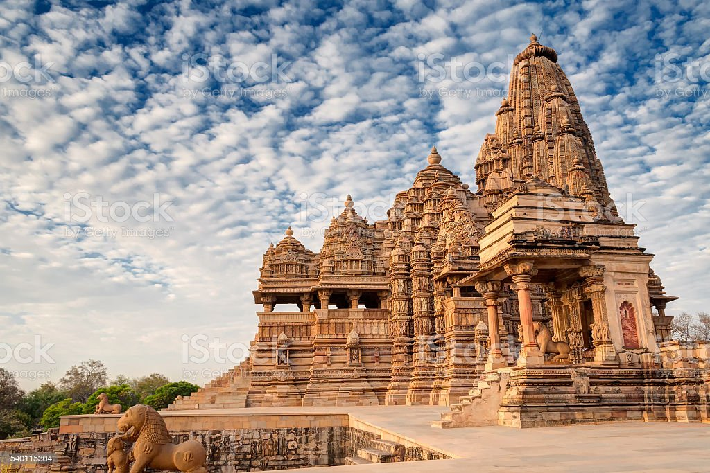 Kandariya Mahadeva Temple, Khajuraho, India-UNESCO world heritage site stock photo