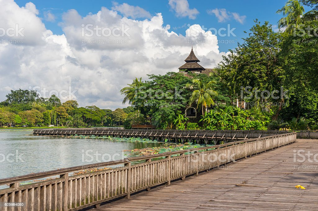 Kandawgyi lake and park in Yangon city, Myanmar stock photo