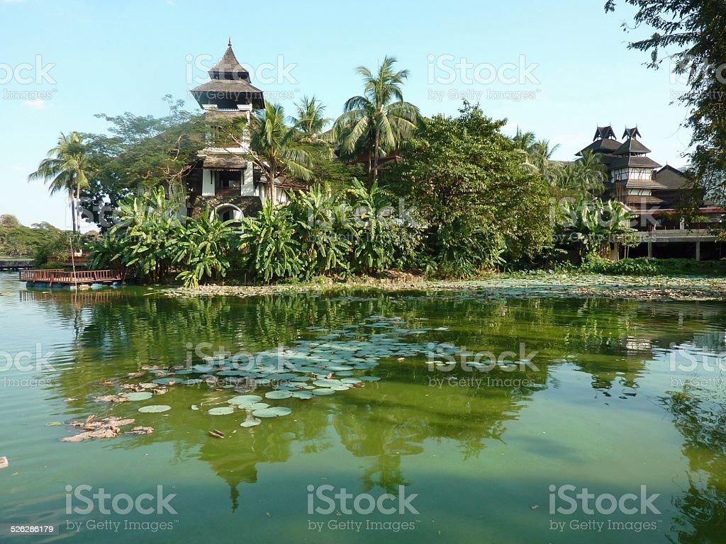 Kandawgyi Lake, Yangon Myanmar stock photo