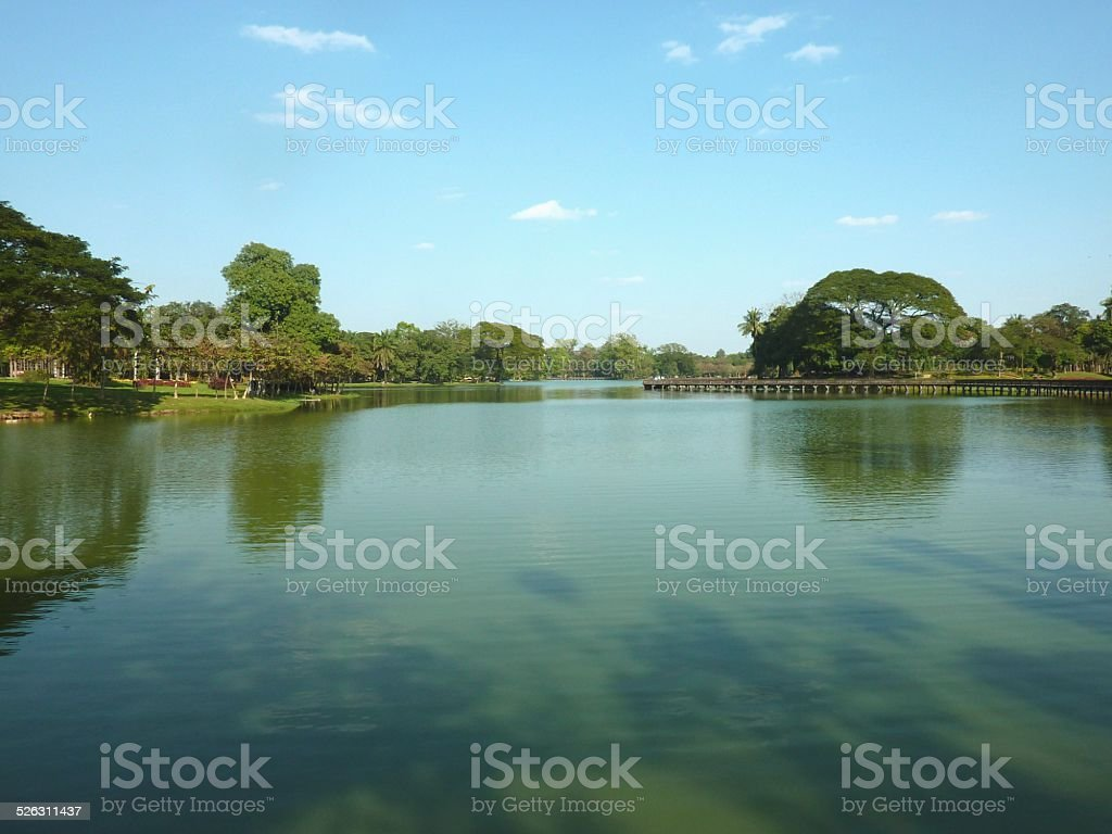 Kandawgyi Lake, Yangon Myanmar stock photo