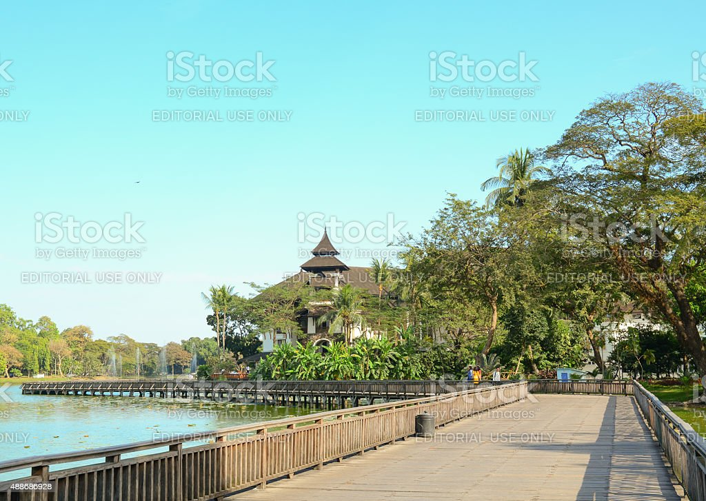 Kandawgyi Nature Park in Yangon stock photo