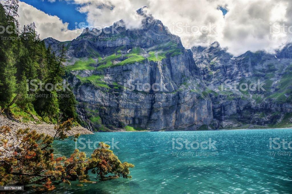 Kandersteg & Oeschinensee - in the shadow of The Blumlisalp - Bernese Oberland, Switzerland stock photo