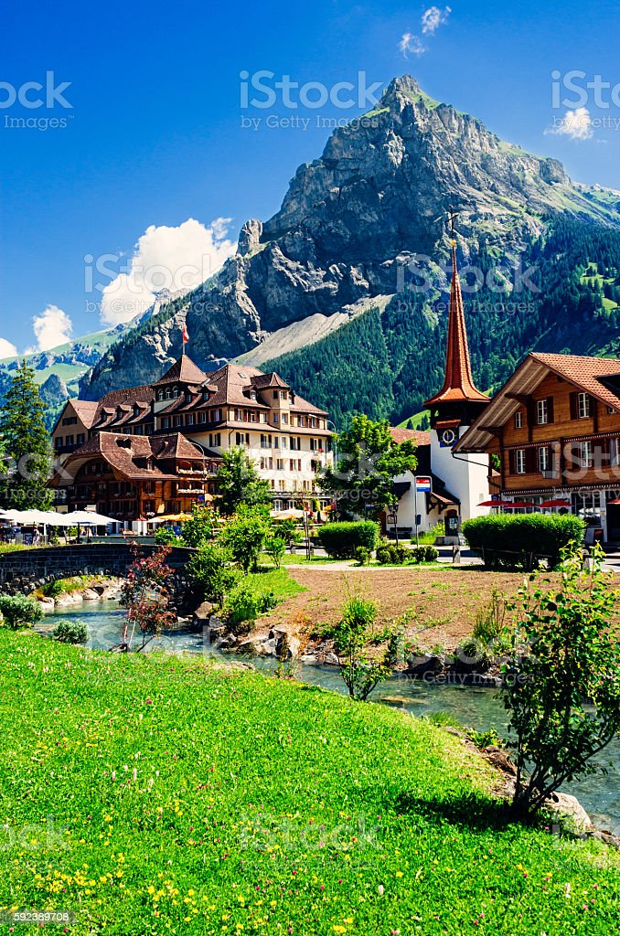 Kandersteg village, Switzerland stock photo