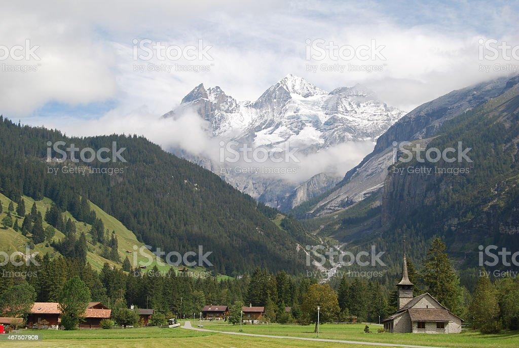 Kandersteg with Bernese Alps stock photo