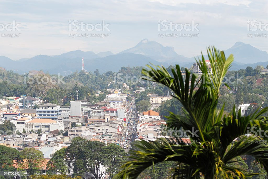 Kandy Sri Lanka temple city view stock photo
