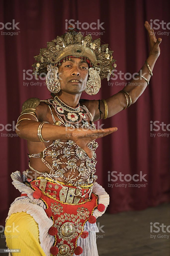 Kandyan dancer during the show, Kandy, Sri Lanka royalty-free stock photo