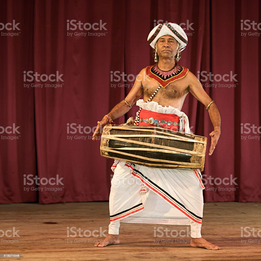 Kandyan dancer during the show, Kandy, Sri Lanka stock photo