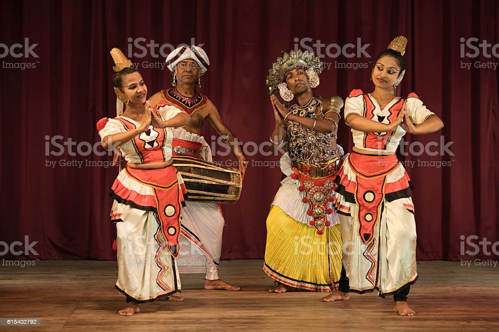 Kandyan dancers during the show, Kandy, Sri Lanka stock photo