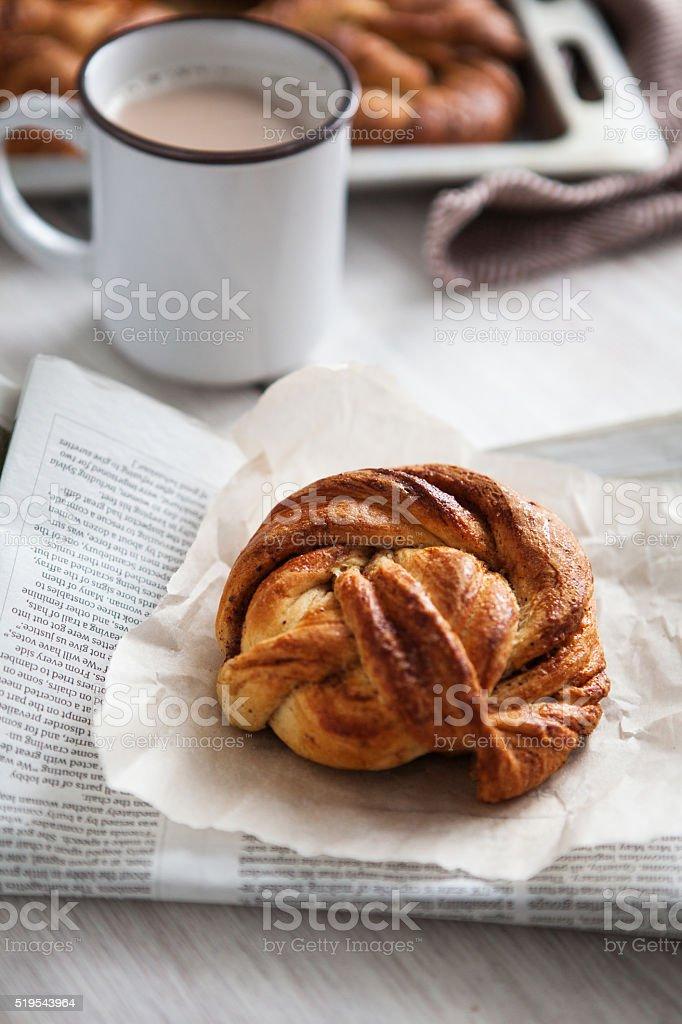 Kanelbulle Swedish bun stock photo