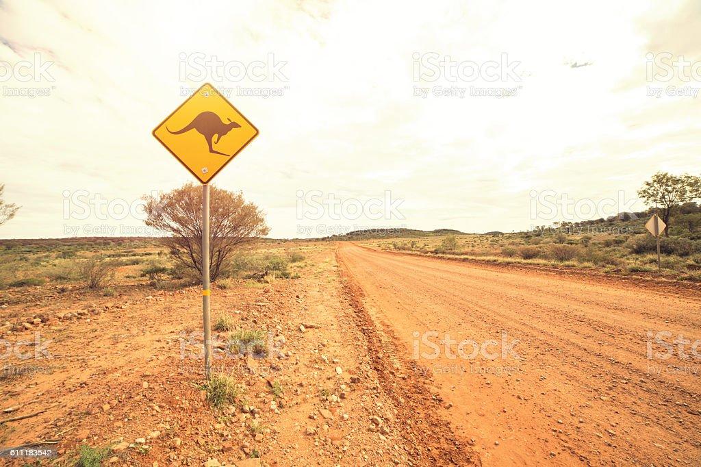 Kangaroo crossing sign stock photo