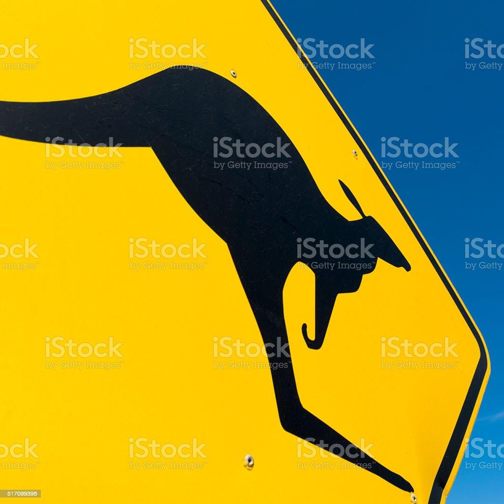 Kangaroo crossing warning sign macro stock photo