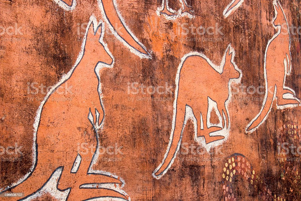 kangaroo mural painting stock photo