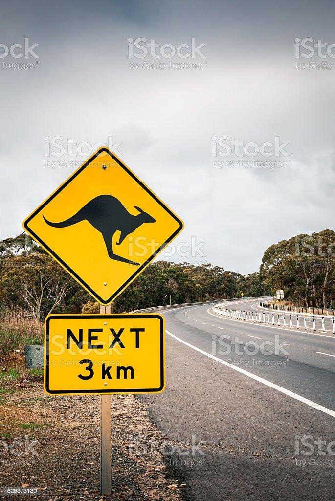 Kangaroo road sign in South Australia stock photo