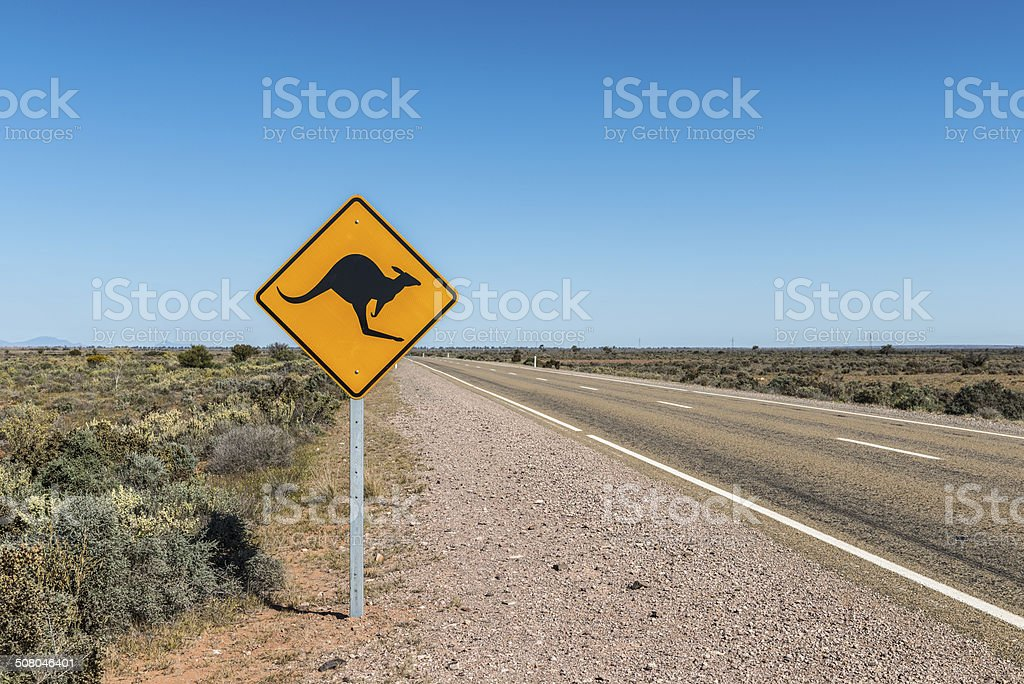 Kangaroo Road Sign, Outback, Australia. Blue Sky, Horizontal. stock photo