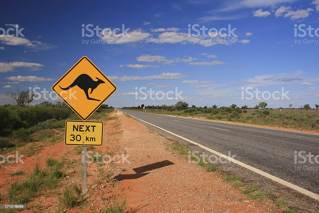 Kangaroo Road Sign stock photo