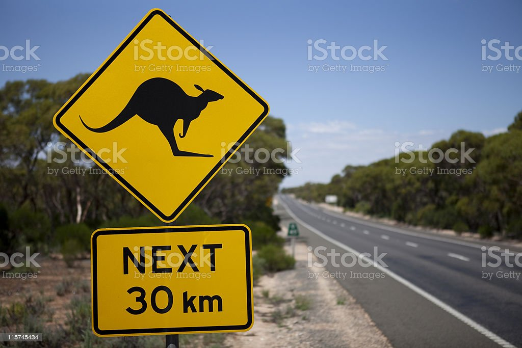 kangaroo sign 30km royalty-free stock photo