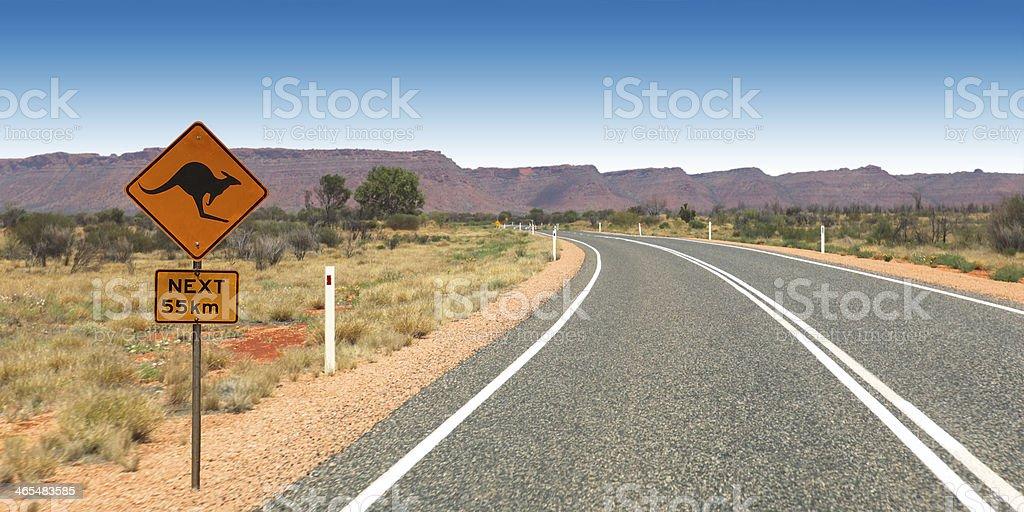 Kangaroo Sign on the Road to Kings Canyon Australia stock photo