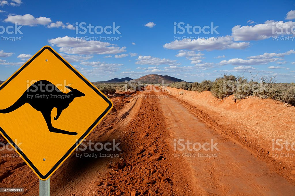 Kangaroo Sign Outback Austalia royalty-free stock photo