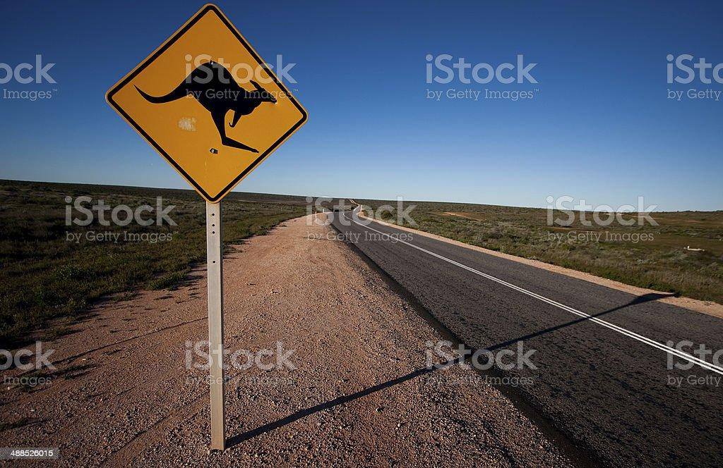 Kangaroo warning road sign in Australia. stock photo
