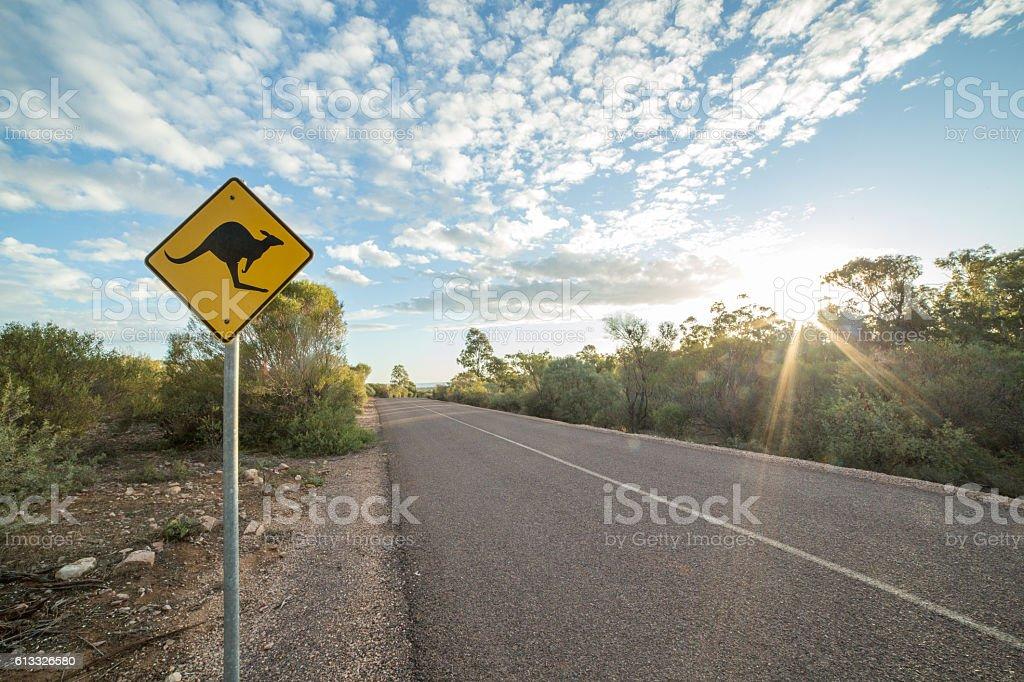 Kangaroo warning sign in the outback, Northern territory, Australia stock photo