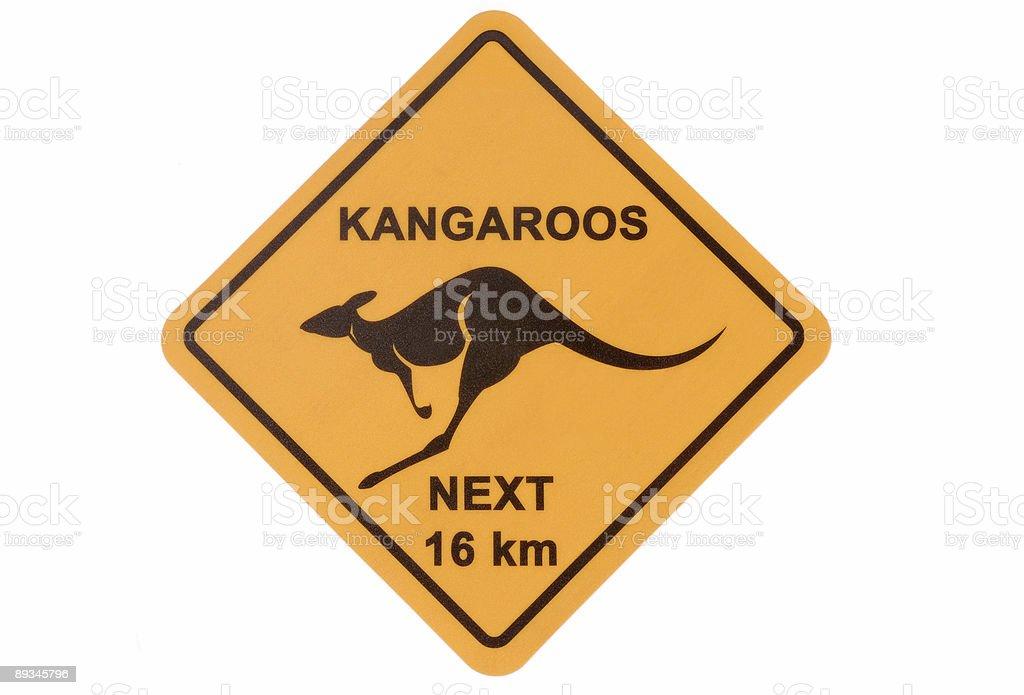Kangaroo warning sign royalty-free stock photo