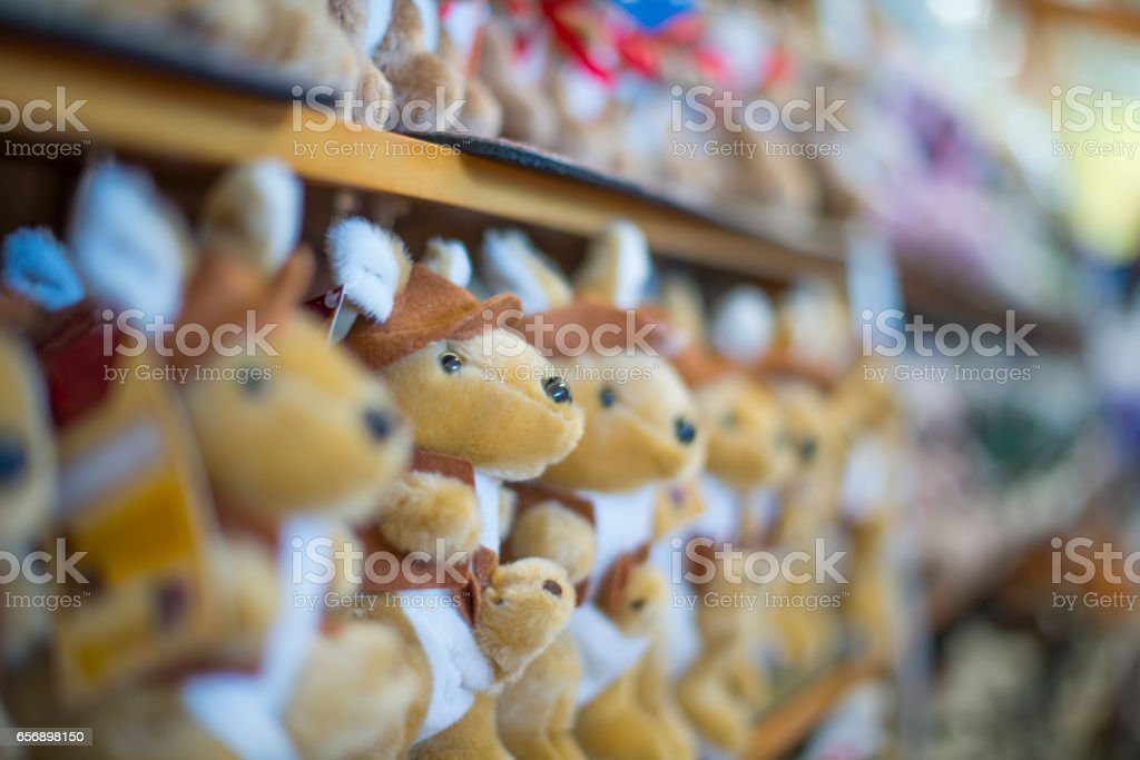Kangaroos for sale in a row stock photo