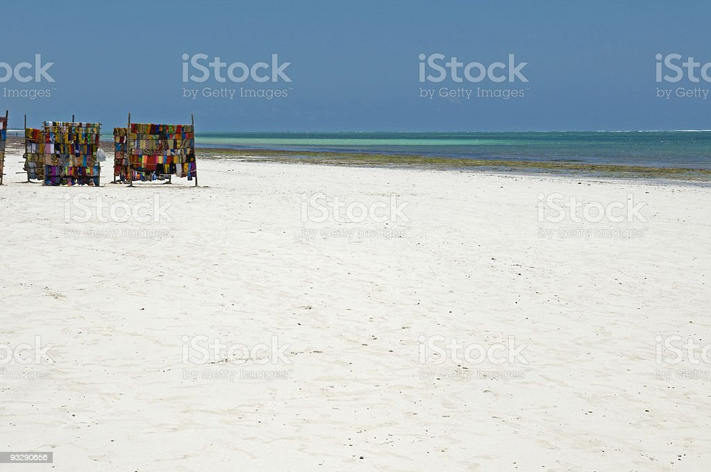 Kanga's (cloth) for sale on Mombasa beach stock photo
