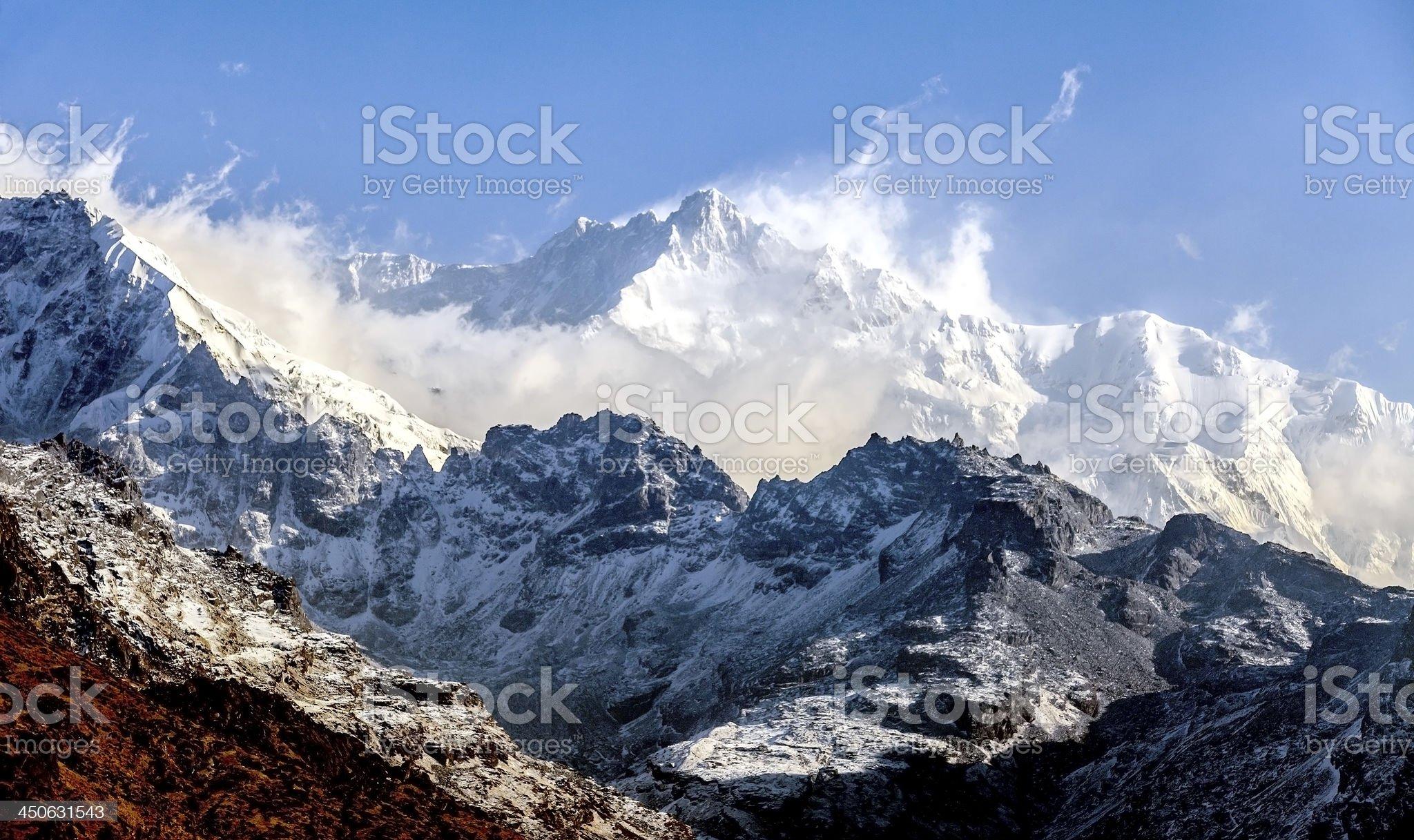 Kangchenjunga is the third highest mountain royalty-free stock photo