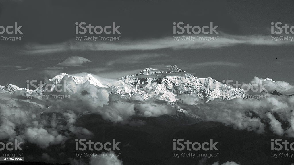 Kangchenjunga mountain stock photo