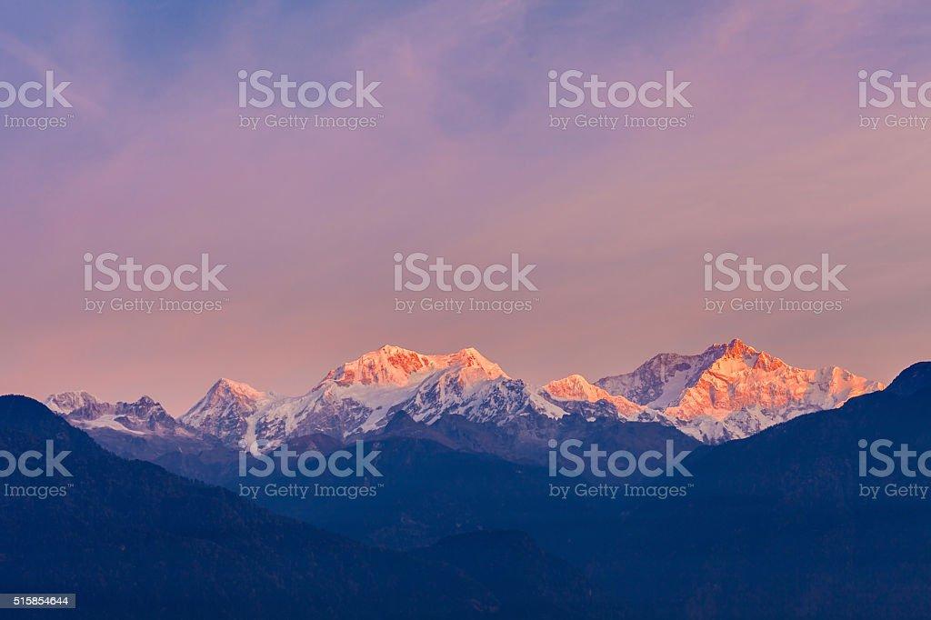 Kangchenjunga mountain view stock photo