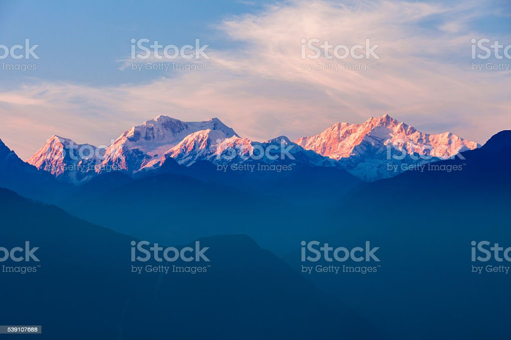 Kangchenjunga mountain view stock photo