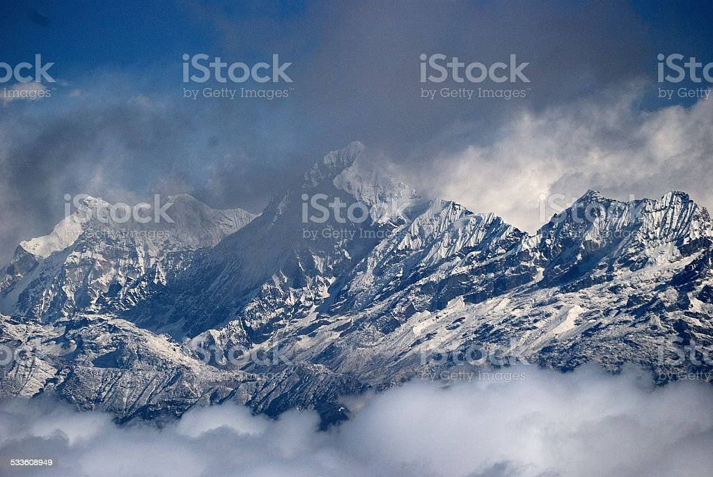 Kangchenjunga up close stock photo