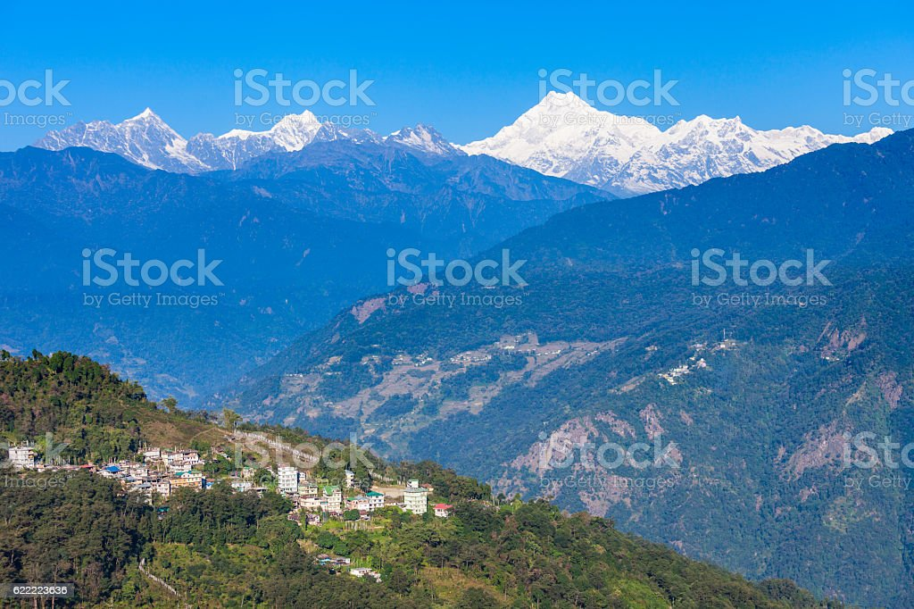 Kangchenjunga view, Gangtok stock photo