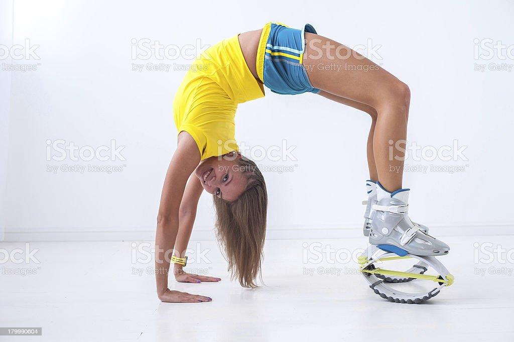 Kangoo jumps athlete royalty-free stock photo