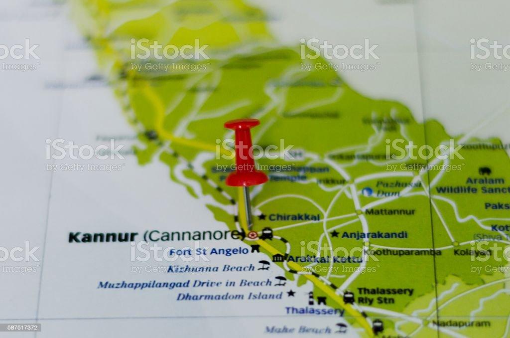 Kannur map stock photo