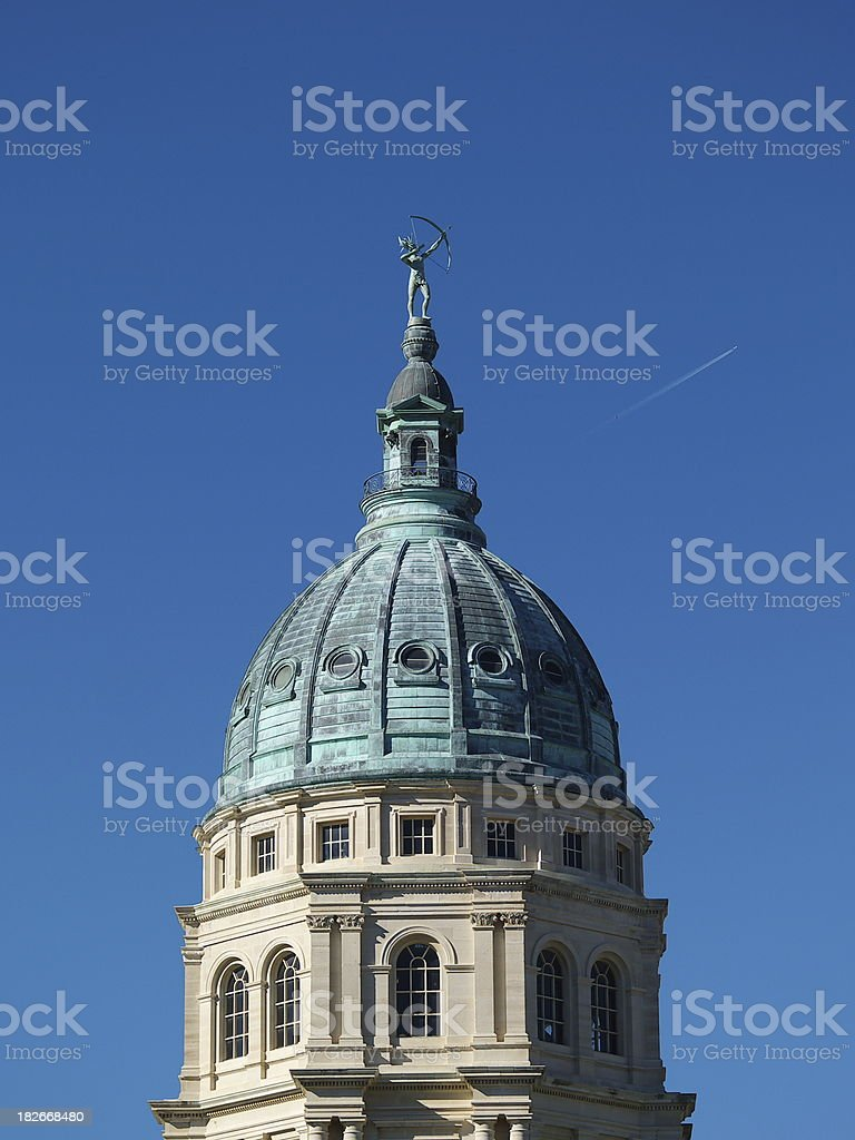 Kansas Capitol dome east side stock photo