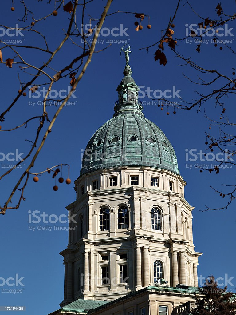 Kansas Capitol dome southwest royalty-free stock photo