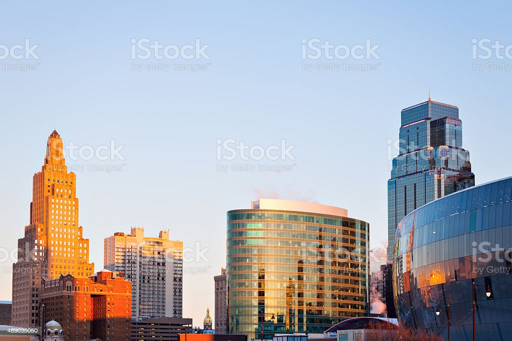 Kansas City architecture at sunrise stock photo