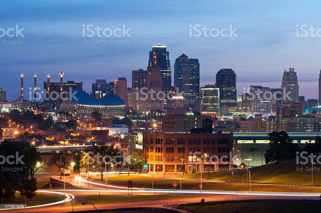 Kansas city at night in motion stock photo