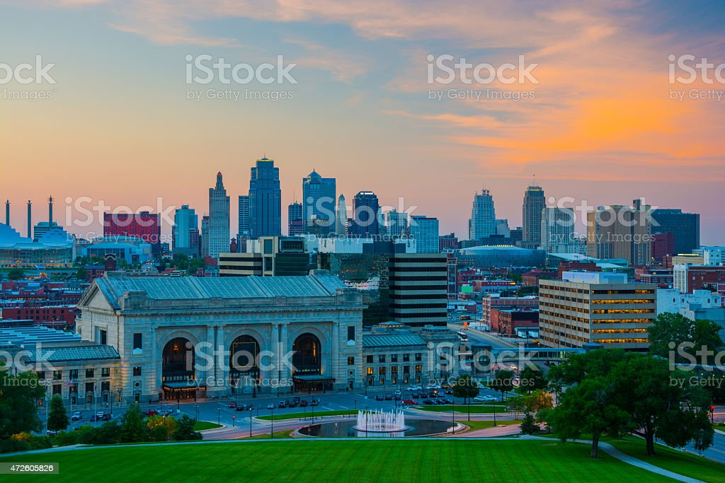 Kansas City at sunset stock photo