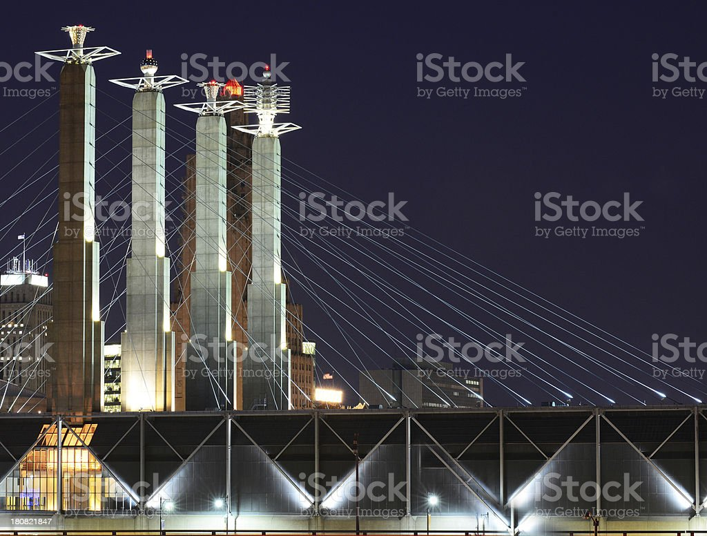 Kansas City Bartle Hall Towers At Night stock photo