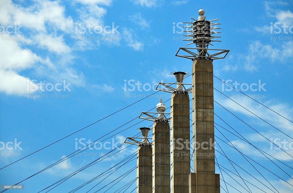Kansas City, Missouri: concrete pilllars and steel suspension cables stock photo
