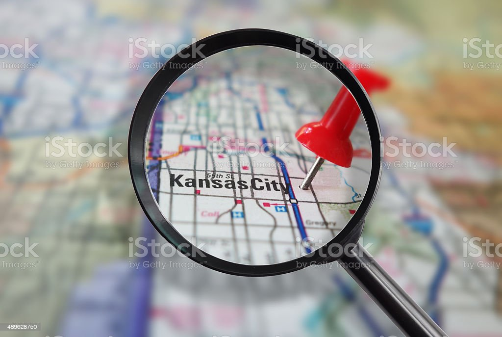 Kansas City Missouri magnified stock photo